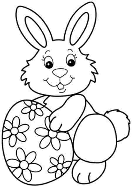 450x635 Easter Bunny Carrying Basket Coloring Pages Easter Happy Easter