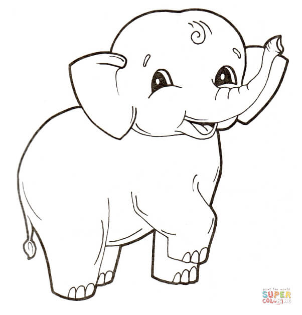 602x628 Cute Baby Elephant Coloring Page Free Printable Coloring Pages