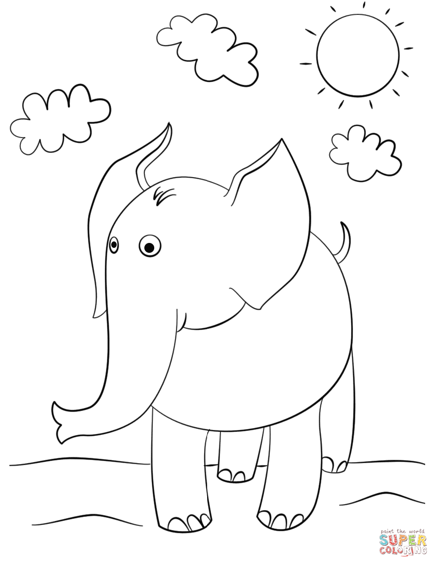 886x1146 Cute Cartoon Elephant Coloring Page Free Printable Pages