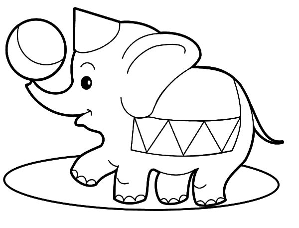 600x457 Cute Circus Elephant Wearing Pointing Hat Coloring Pages Best