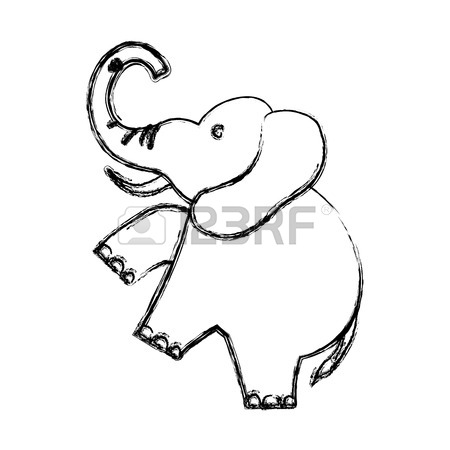 450x450 Cute Elephant Cartoon Over White Background Graphic Design Royalty