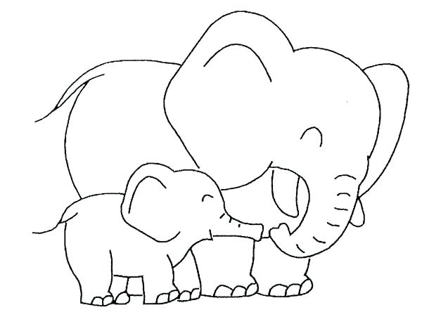 600x461 Cute Elephant Coloring Pages Baby Elephant Love Her Mother