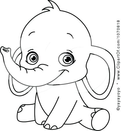 417x450 Cute Elephant Coloring Pictures Image Detail For Outlined Sitting