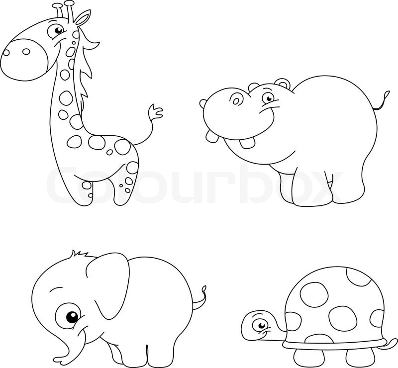 800x740 Outlined Cute Animal Set