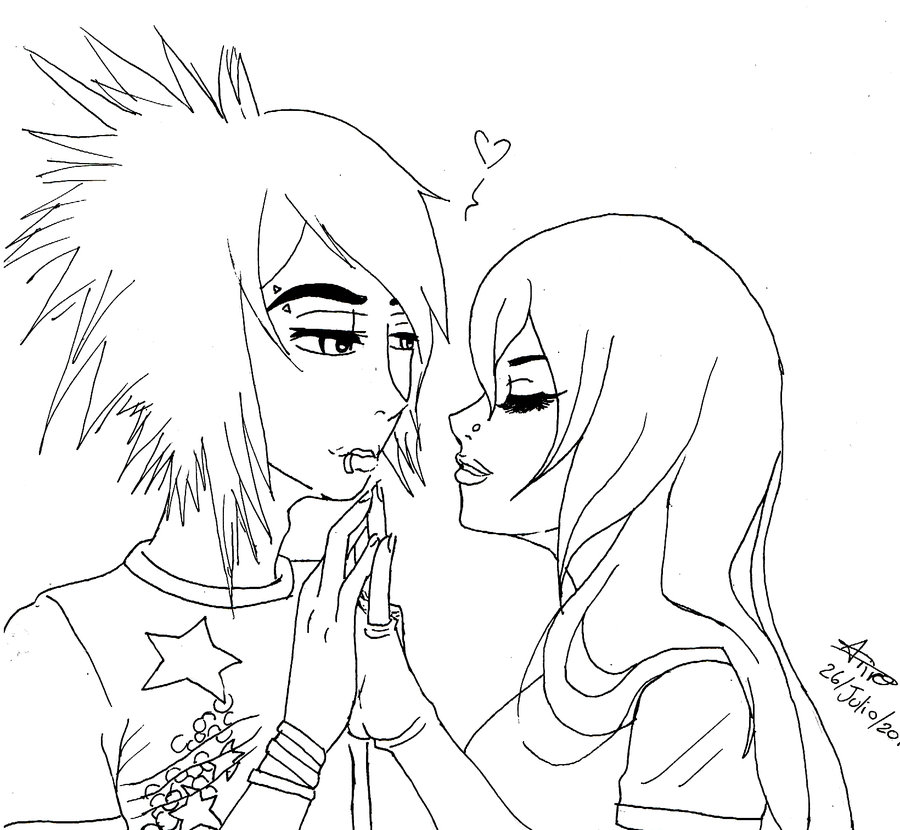 900x830 Cute Emo Anime Couple Coloring Page Emo Love Emo