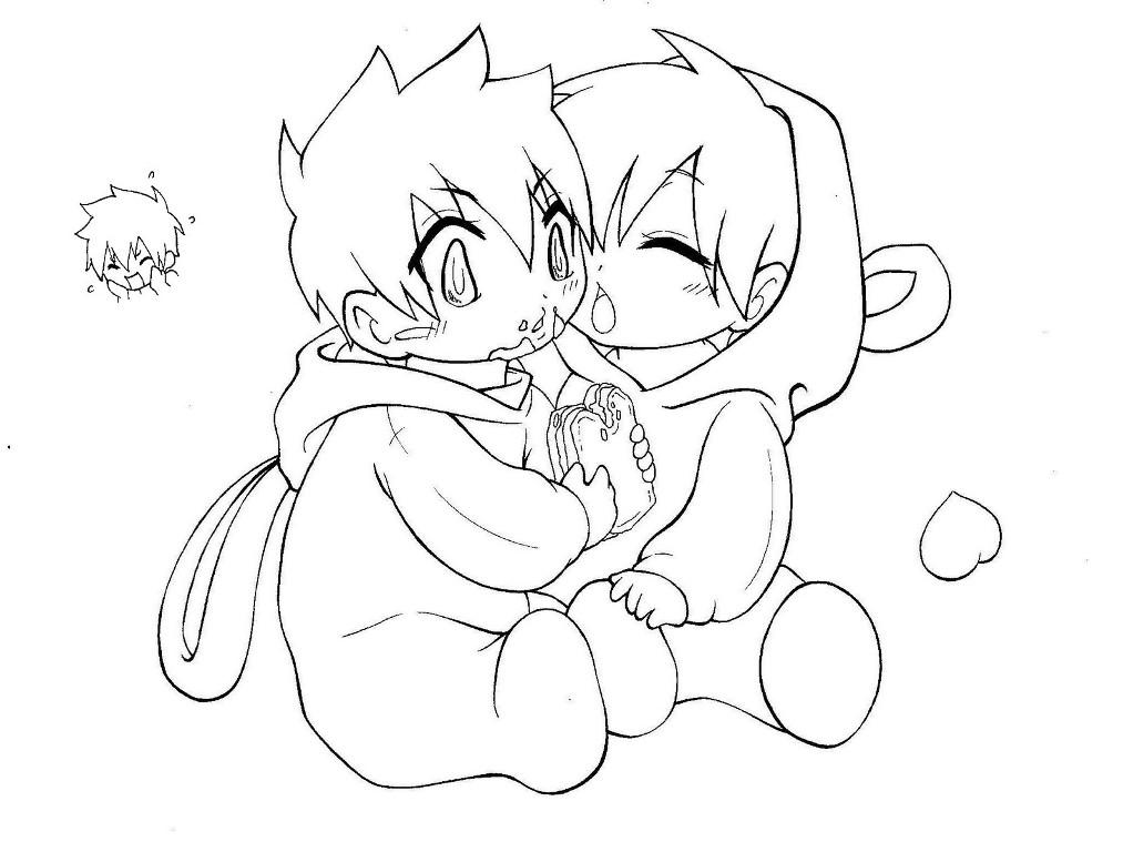 1013x768 Cute Anime Couple Coloring Pages Chibi