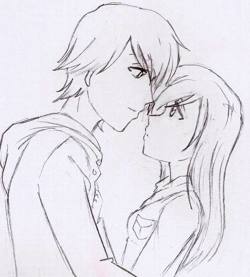 850x941 Emo Anime Love Drawings In Pencil Cartoon Love Couple To Draw