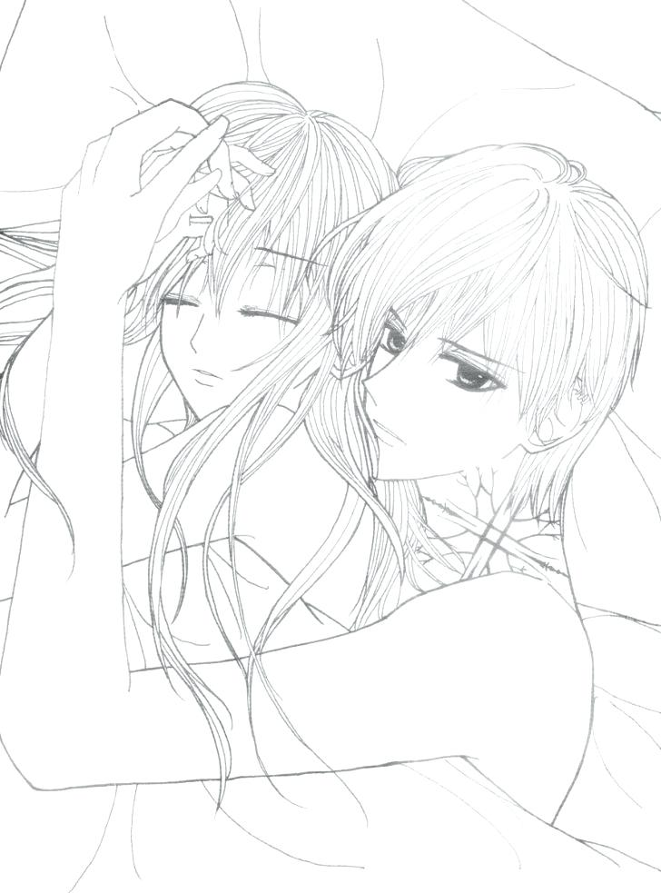 Anime Couple Kissing Coloring Pages To Print