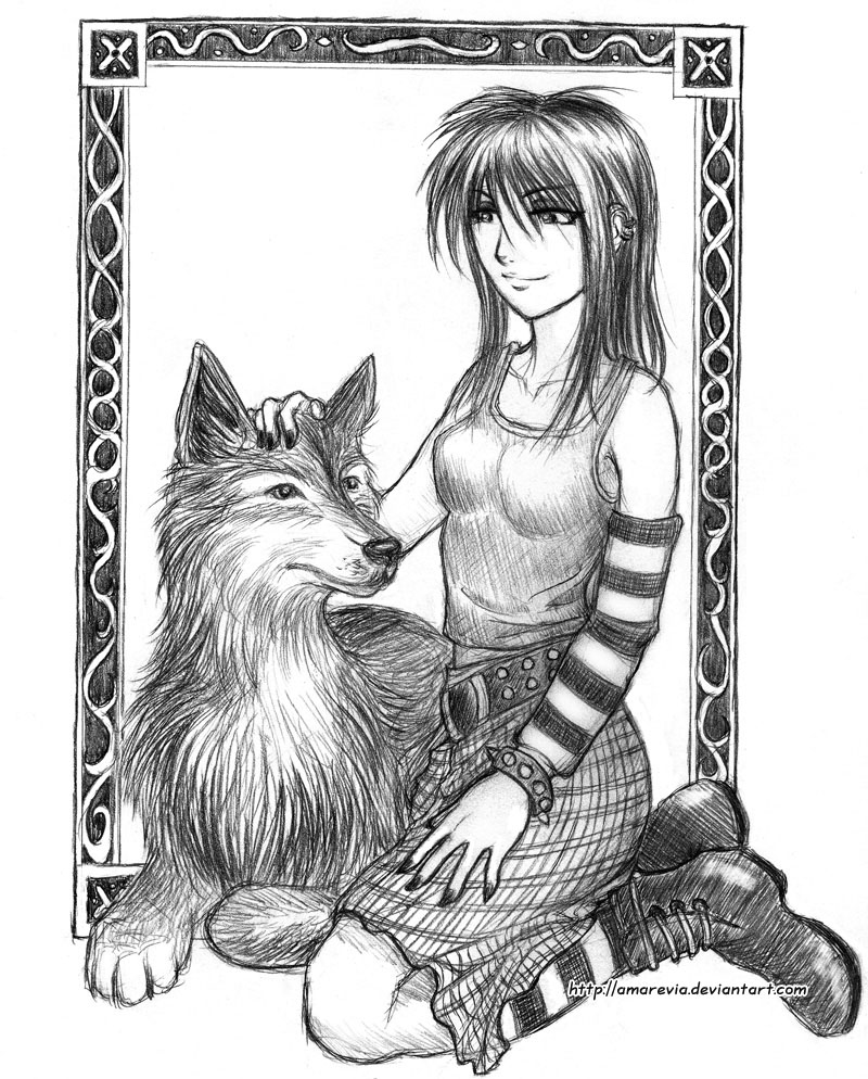 800x994 Emo Girl With A Wolf By Amarevia