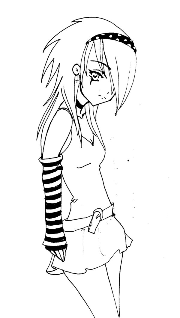 600x1061 Cute Emo Anime Girl Anime Girls Blackwhite Emo