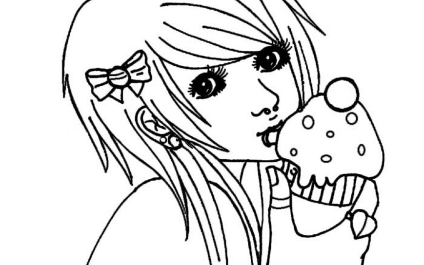 869x544 Anime Girl Coloring Pages Emo Marvelous Print These And To