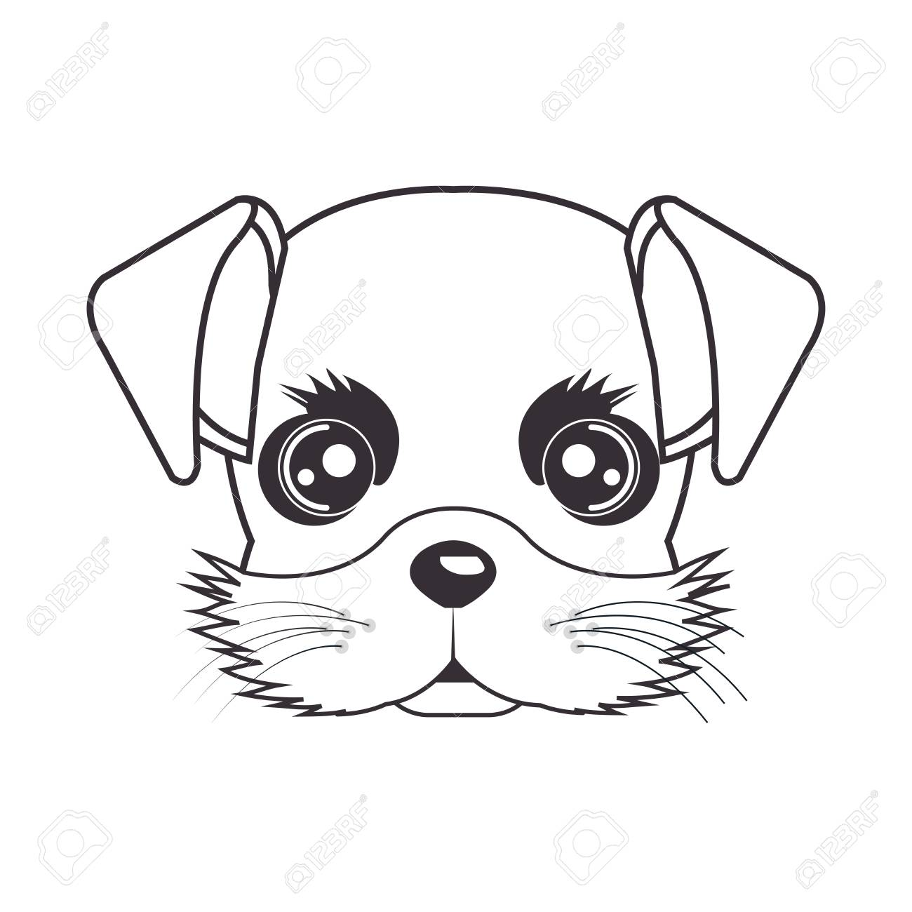 1300x1300 Hand Drawing Cute Face Puppy Vector Illustration Eps 10 Royalty
