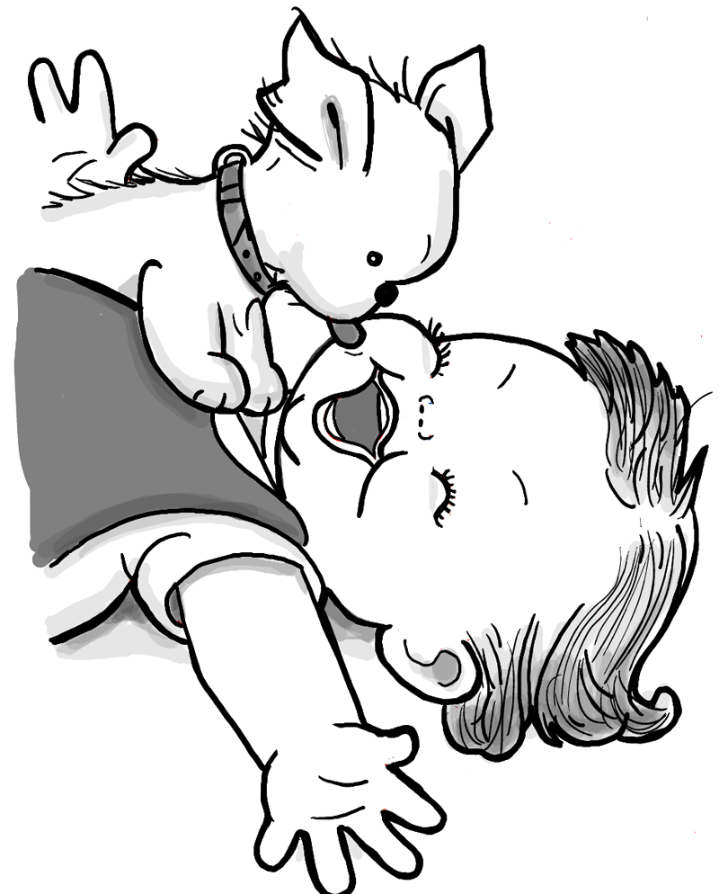 800x994 How To Draw A Cute Baby And Puppy Licking His Face Drawing