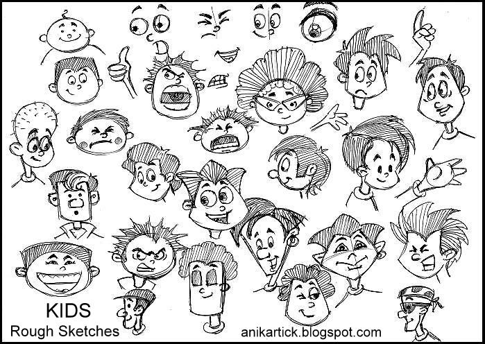 699x496 Rough Sketch And Kids Cute Faces And Expressions