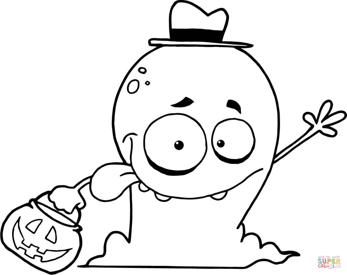 1175x933 Cute Ghost Flying Over Rooftops Coloring Page Free Printable