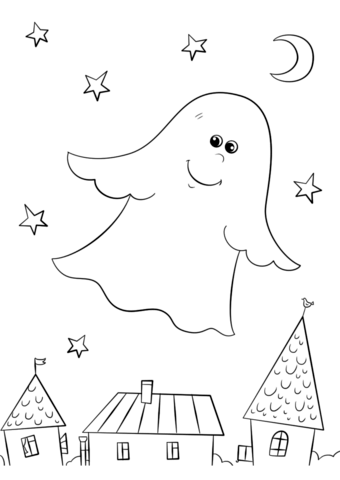 340x480 Cute Ghost Flying Over Rooftops Coloring Page Free Printable