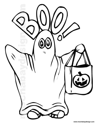 325x420 Cute Boo Ghost Printable Halloween Kids Coloring Page