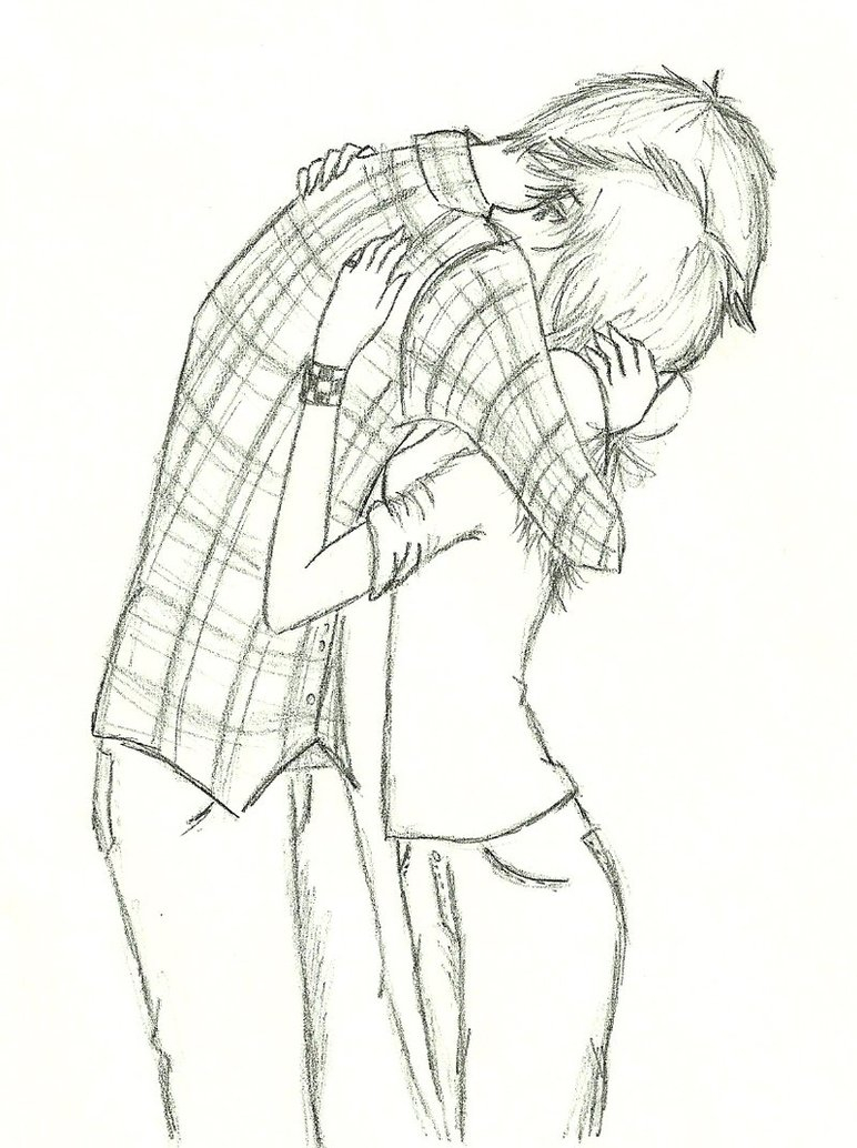 772x1034 Cute Couple Hugging Drawing The Height Difference Is Perfectly