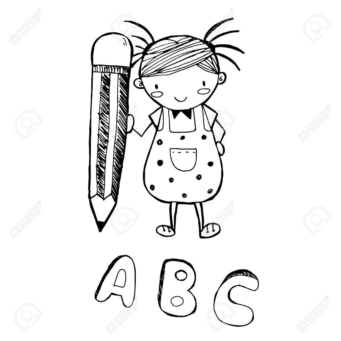 1300x1300 Cute Girl Cartoon Drawing A B C In Black Line Doodle Vector