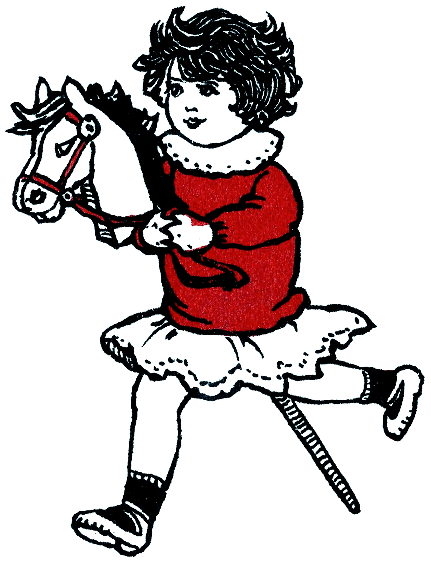 1381x1800 Cute Girl With Hobby Horse Drawing!