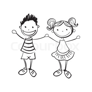 320x320 Pictures Boy And Girl Cartoon Sketch,