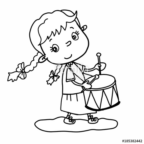 500x500 Cute Girl Cartoon Illustration Drawing Playing Drum And Speaking