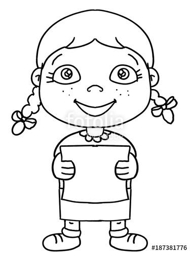 375x500 Cute Girl Child Illustration Cartoon Drawing Stock Photo
