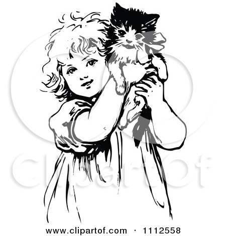 450x470 Cute Girl With Cat Pics To Draw