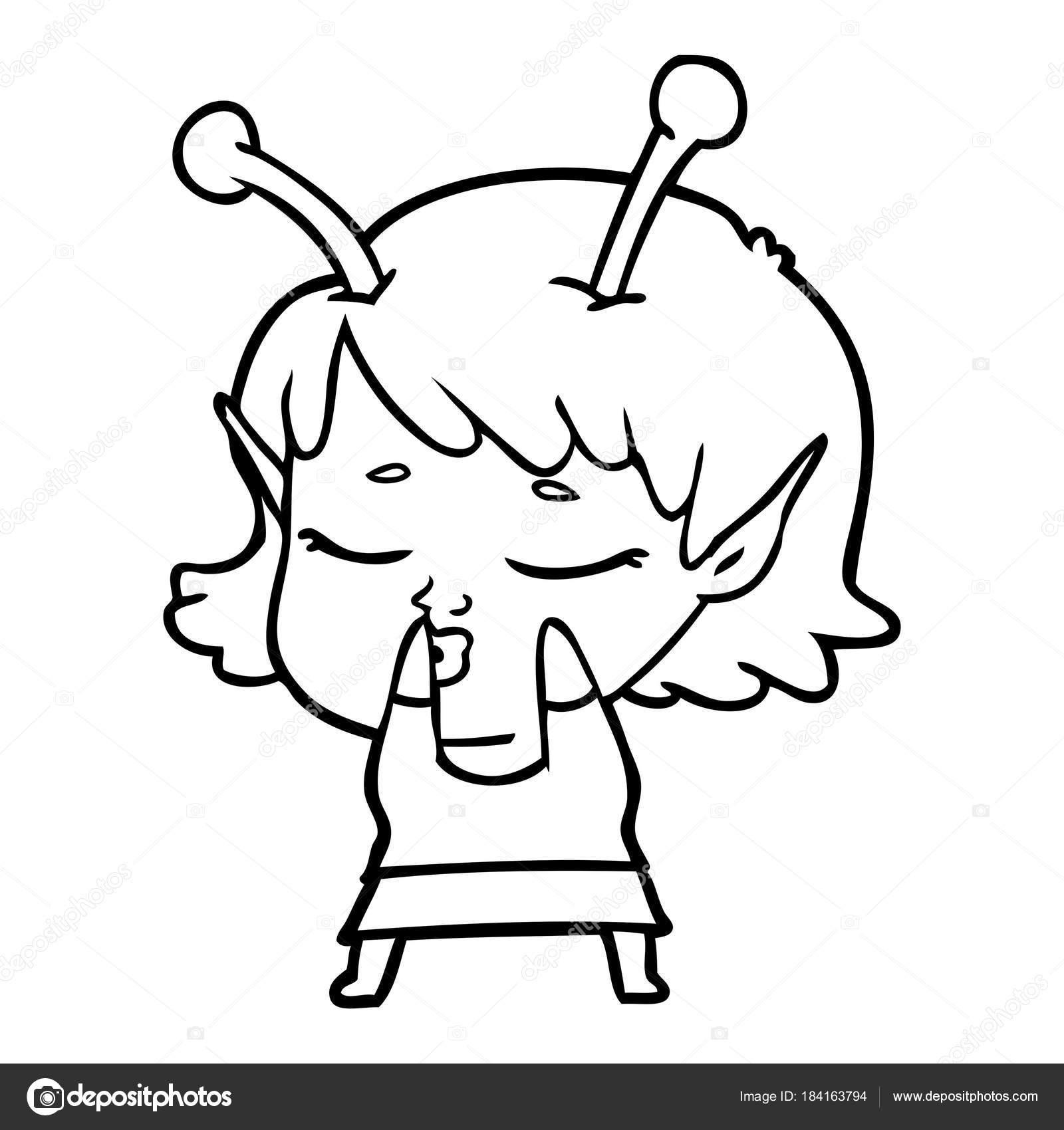 1600x1700 Cute Alien Girl Cartoon Stock Vector Lineartestpilot