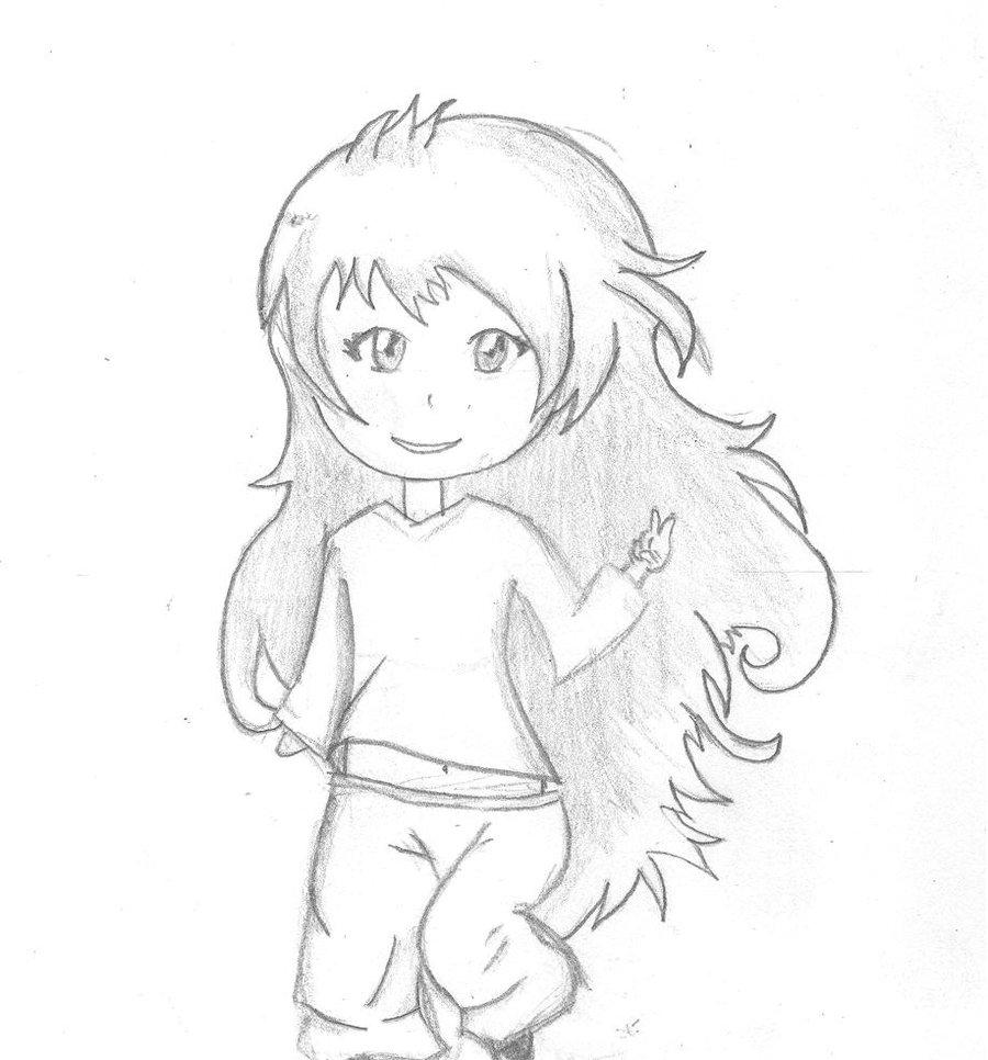 900x966 Cute Chibi Girl Long Hair By Hedwigs Art