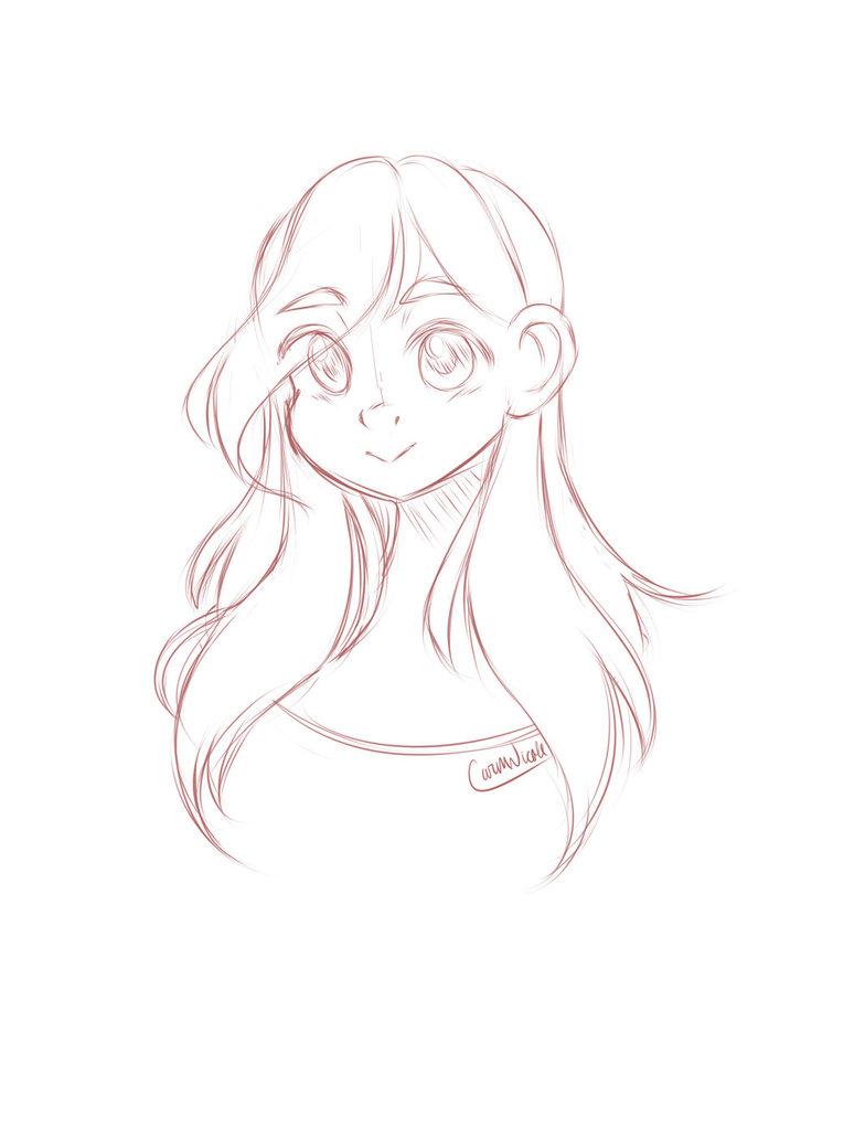 774x1032 Cute Girl Sketch (Paint Tool Sai) By Carmnicole
