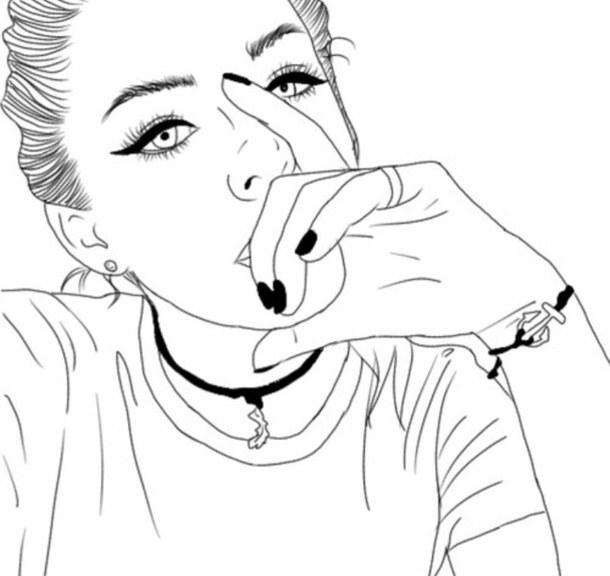610x576 Art, Beautiful, Black, Cute, Girl, Outlines, Tumblr, White Art