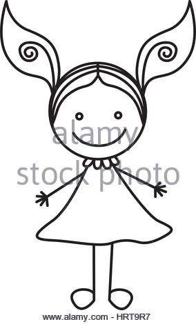 284x470 Silhouette Hand Drawing Cute Girl With Ponytail Stock Vector Art