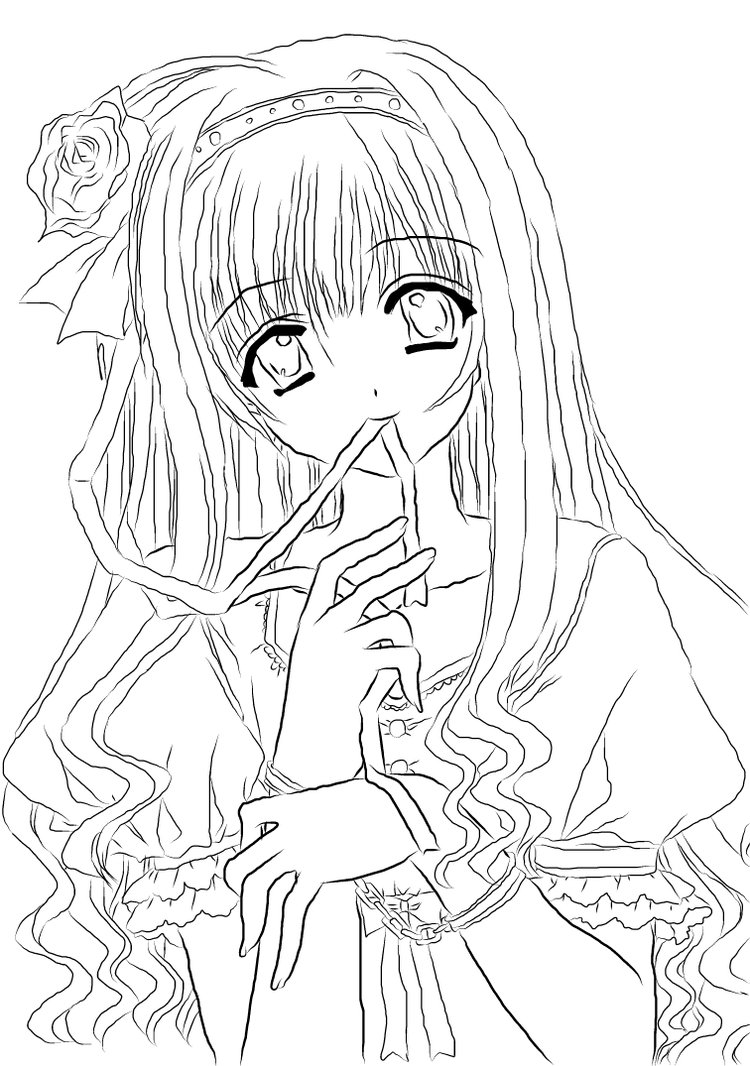 750x1066 Coloring Pages Decorative Coloring Pages Draw A Girl Coloring