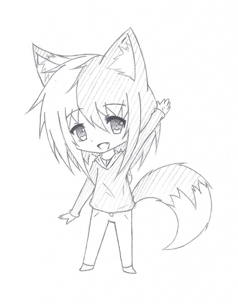 803x1024 Cute Anime Girl Sketch Chibi
