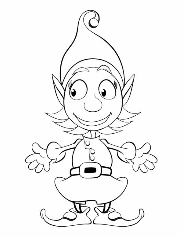 600x775 Cute Girl Elf Coloring Page Color Luna