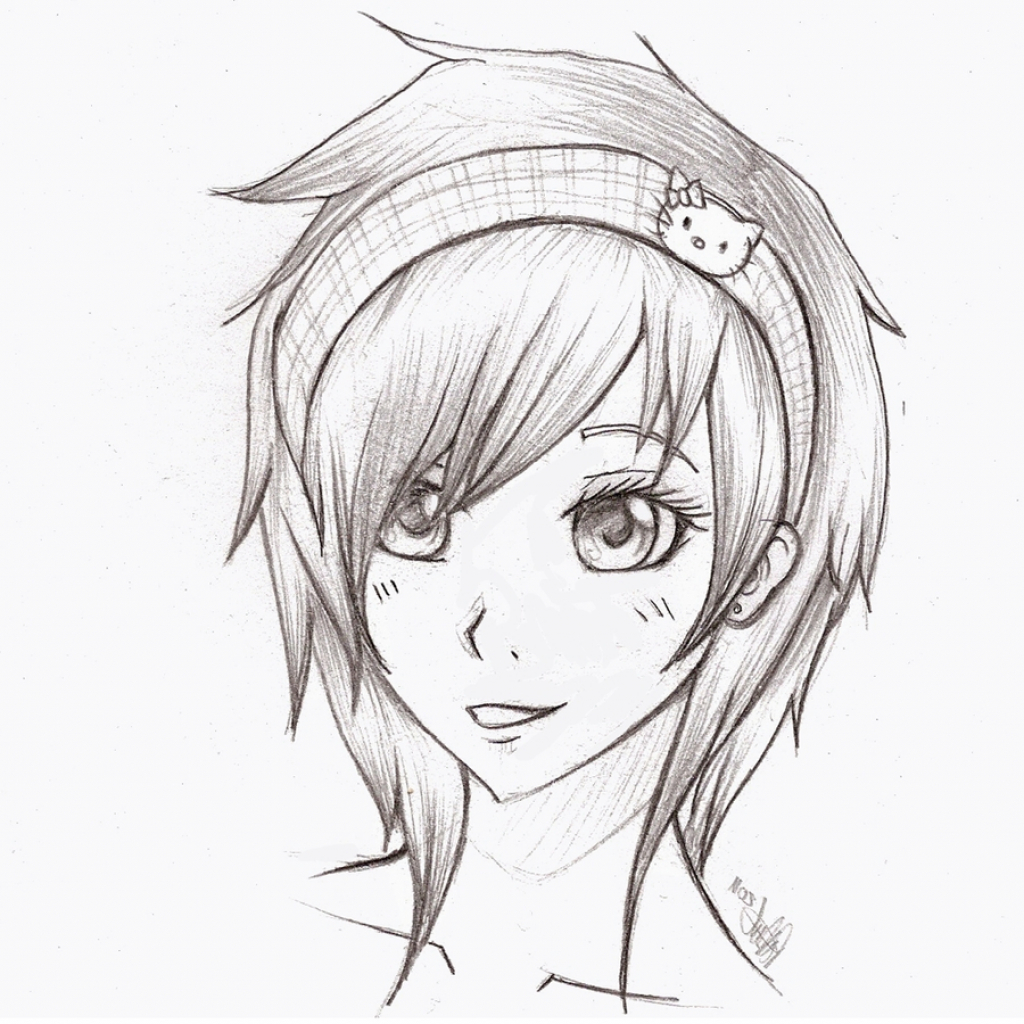 1024x1024 Cute Girl Pic In Cartoon N Sketch Cartoon Sketches Of Cute Girls