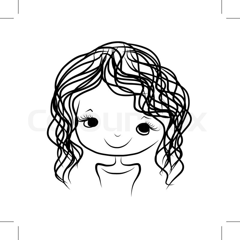 800x800 Cute Girl Smiling, Sketch For Your Design, Vector Illustration