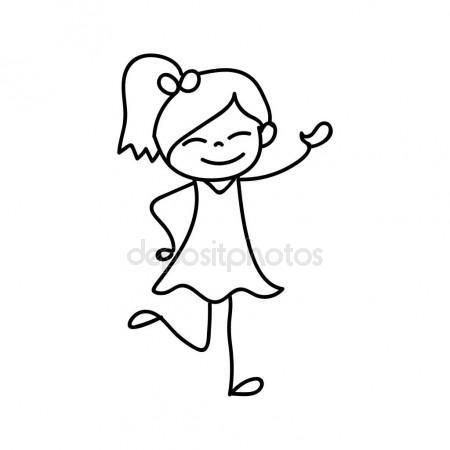 450x450 Hand Drawing Happy Cute Girls Line Art Stock Vector Atthameeni