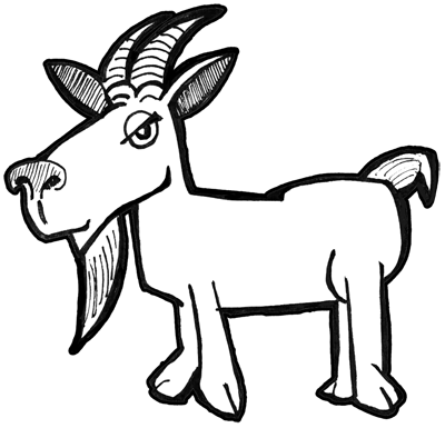 400x385 How To Draw Cartoon Billy Goats With Simple Drawing Tutorial
