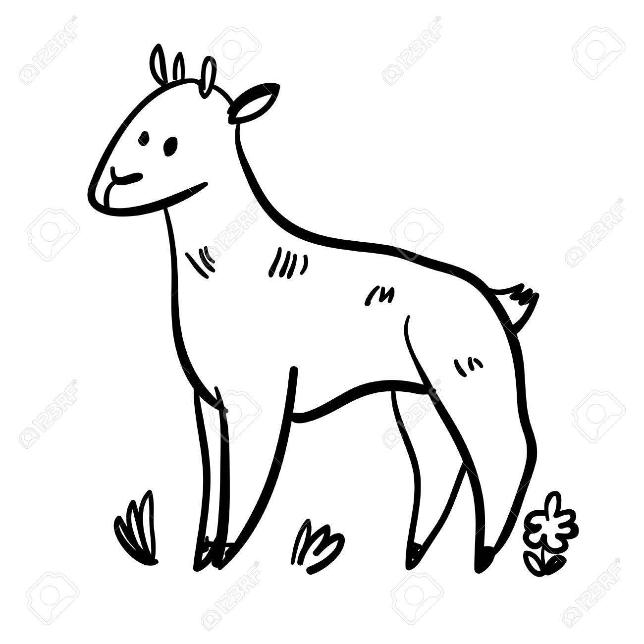 1300x1300 Vector Illustration Set With Nanny Goat. Funny Doodle Goat. Handy