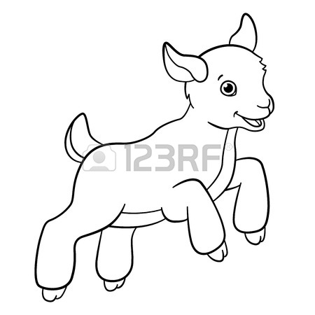 450x450 Coloring Pages. Farm Animals. Cute Mother Goat Looks At The Little