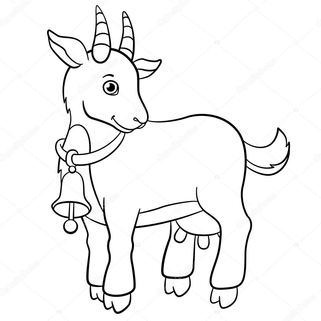 1024x1024 Coloring Pages. Farm Animals. Little Cute Goat Smiles. Stock