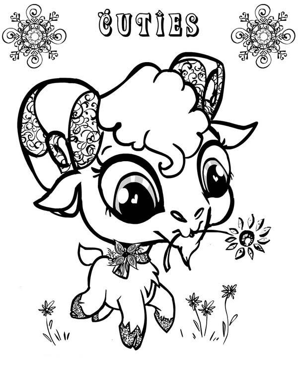 600x776 Cute Big Eyed Goat Coloring Pages Color Luna