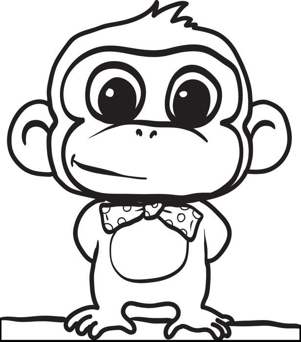 616x700 Cute Gorilla Coloring Page