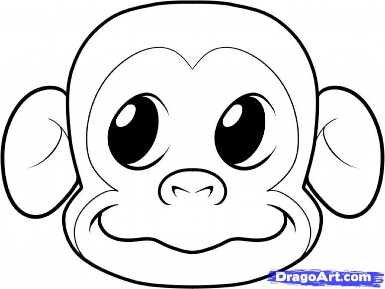 1280x960 Gorilla Face Coloring, How To Draw A Monkey Face Step By Step