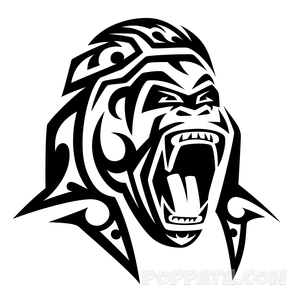 1000x1000 How To Draw A Gorilla Tribal Tattoo Pop Path