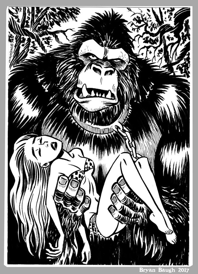 652x900 Mini Monster Ink Brush Drawing 8 Gorilla By Bryanbaugh