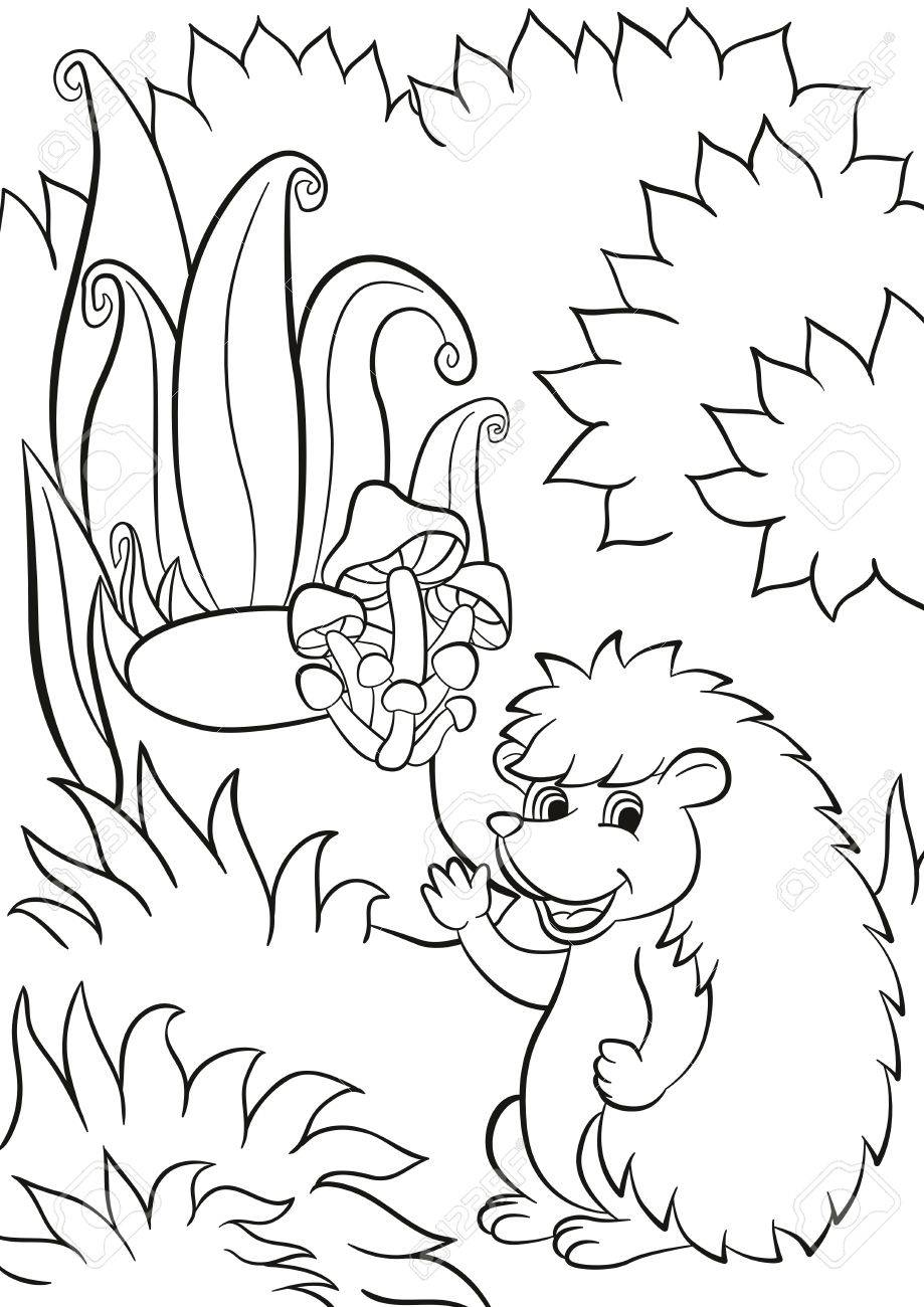 919x1300 Coloring Pages. Little Cute Hedgehog Waves And Smiles. There