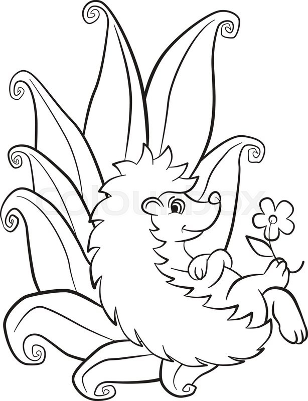 614x800 Coloring Pages. Little Cute Hedgehog Lays And Smiles. There Are